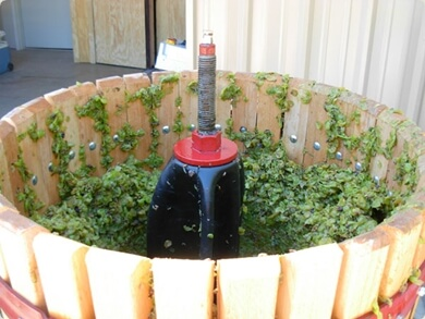 Inside the wine press crusher at the Westcave Cellars Winery
