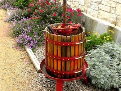wine press crusher at the Westcave Cellars Winery